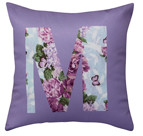 NikaGrace, Floral Letter M Throw Pillow Cover No Pillow Insert and Made in USA