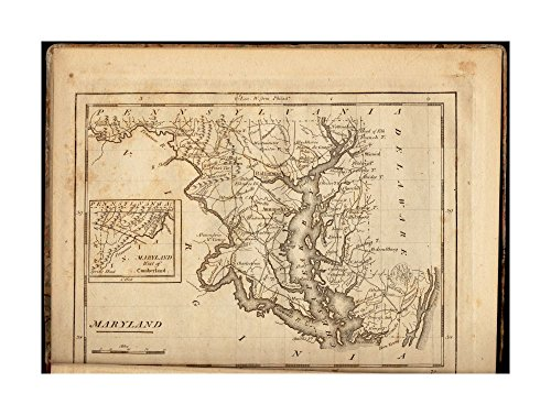 1806 Map Maryland Maryland Prime meridians: London & Philadelphia.Inset: Maryland west of Cumberland.In his Carey's American minor atlas.Philadelphia: Mathew Carey, 1806.|Ready to - In Outlets Maryland Prime
