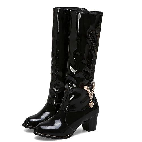 Amazon.com | AnMengXinLing Knee High Boots Women Block Mid Heel ...
