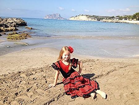 Noir//Rouge pour Filles//Enfants La Senorita Robe Espagnol Flamenco//Costume Taille 2, 80-86 - Longeur 60 cm -1-2 Ans, Multicolore