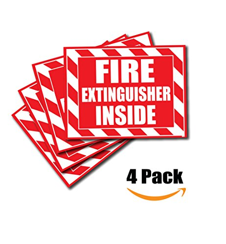 (4 Pack) Fire Extinguisher Inside Sticker Decal Sign Self Adhesive for Trucks or Equipment