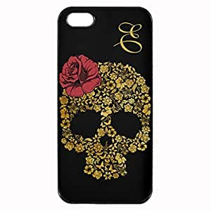 Golden Floral Skull With Rose Printed Plastic Rubber Sillicone Customized iphone 5s Case, iphone 5s Case Cover, Protection Quique Cover, Perfect fit, Show your own personalized phone Case for iphone 5s & iphone 5s