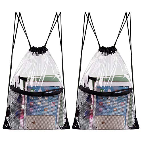 KUUQA 2 Pack Clear Drawstring Backpack Bags Waterproof PVC Clear Cinch Stadium Bags Bulk with Zipper Mesh Pocket for Sports, Travel ()