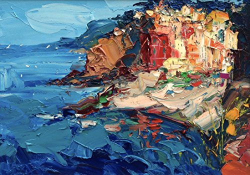 (Riomaggiore Cinque Terre Wall Art Prints Impressionist Modern Canvas and Paper Seascape Artwork Ligurian Sea Home Decor Living Room Christmas Gifts Women Men Parents - from Painting of Agostino Veroni)