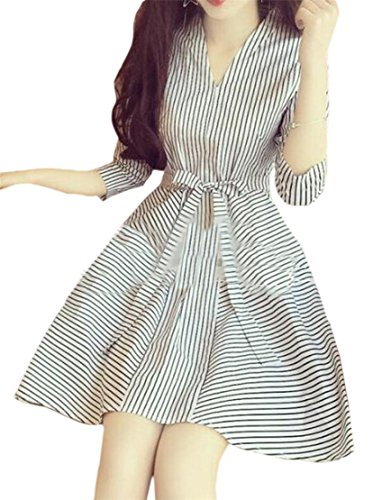 Jaycargogo Femmes Rayées Simples Manches Longues Coupe Ample Robe Blanche Swing