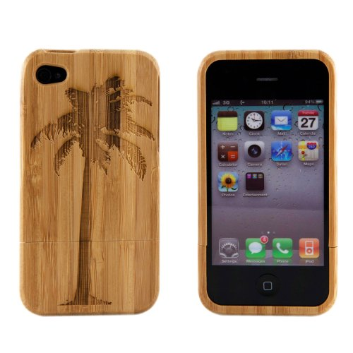 Boho Tronics Bohobamboocases Natural Handmade hard wood Bamboo Engraved Palm Tree Cover For iPhone 6 For Apple iPhone 6 (4.7-Inch)