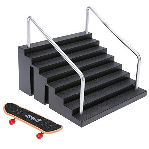 GreenSun TM Mini Table Game Finger Skating Board with Ramp Parts Track for Deck Fingerboard Toy Finger Skate Training Board (Mini Ramp Skating)