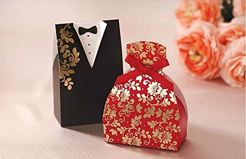 Saitec ®Pack of 100ps Black & Red Paper - Chinese Wedding Decorations