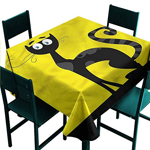 DONEECKL Restaurant Tablecloth Cat Cartoon Style Drawing Halloween Easy to Clean W63 xL63]()