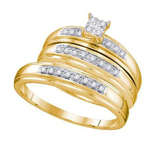 0.2 cttw 14k Yellow Gold Diamond Square Engagement Ring His and Hers Wedding Ring Sets Trio Rings
