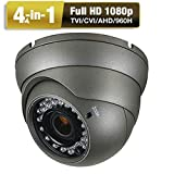 Eziview Dome Security Camera HD 1080P 4 in1 (TVI, AHD, CVI, CVBS) Analog CCTV Camera 2.8-12mm Varifocal Zoom Day/Night 100ft IR Indoor & Outdoor Weatherproof IP66 2MP Surveillance Camera