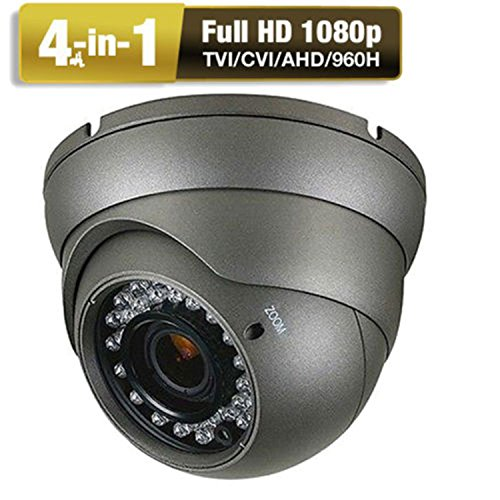 CCTV Camera  HD 1080p 4-In-1 (TVI/AHD/CVI/CVBS) Security Dome Camera  Analog  2.8mm-12mm Varifocal Lens 100ft IR Indoor & Outdoor Weatherproof IP66 (Gray)