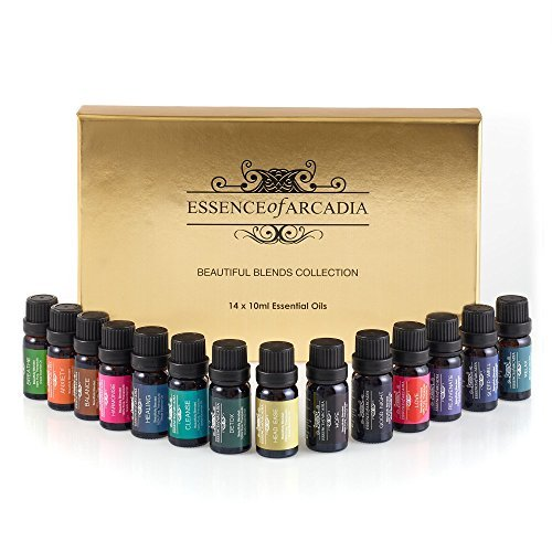 Set of Top 14 Aromatherapy Essential Oil Blends (10ml Each) - 100% Therapeutic Grade Oil (Comes with a downloadable Recipe Book) 141 by Essence Of Arcadia