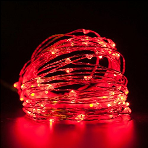 - LiPing 33FT(10M) 100LED Waterproof Copper Wire Mini Fairy String Lights for Bedroom,Christmas, Weddings,Garden Copper Wire Lights (Red)