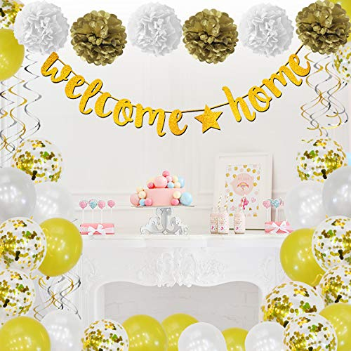 Welcome Home Baby Party Decorations (Welcome Home Banner Decorations, 38 Pcs, Gold, Welcome Home Sign, Swirl, Balloon, Great for Home Party Decorations, Family Party Supplies, Deployment Returning Back Party)