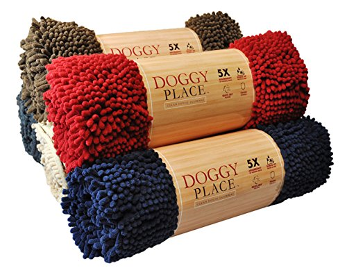 My Doggy Place - Ultra Absorbent Microfiber Dog Door Mat, Durable, Quick Drying, Washable, Prevent Mud Dirt, Keep Your House Clean (Red, Large) - 36 x 26 inch -