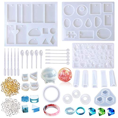 233 Pcs Jewelry Casting Molds Tools Set Includes 18 Silicone Resin Jewelry Molds, 200 Screw Eye Pins, 5 Plastic Spoons, 5 Plastic Stirrers and 5 Droppers for DIY Jewelry Craft Making