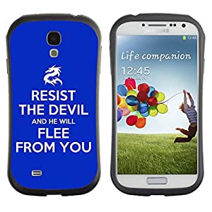 Fuerte Suave TPU GEL Caso Carcasa de Protección Funda para Samsung Galaxy S4 I9500 / Business Style BIBLE Resist The Devil