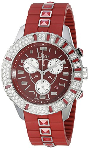 Christian Dior CD11431BR001 Women's Christal Chronograph Diamond Red Dial Watch