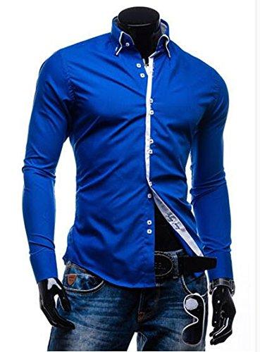 Dearilin Stylish Men Shirt NEW Male Long Sleeve Shirts Casual Solid Multi-Button Hit Color Slim Fit Dress Shirts Mens Hawaiian XXL Blue Asia XL 175CM 75KG