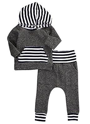 Newborn Baby Boy Girl Warm Hoodie T-shirt Top + Pants Outfits Set Kids Clothes