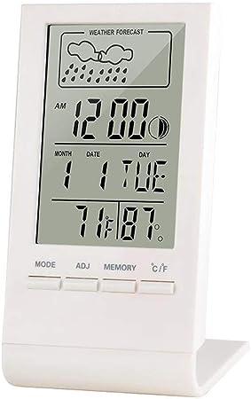 Relojes meteorológicos Termómetro Digital Interior Higrómetro Temperatura Ambiente Humedad Medidor Relojes Reloj Pronóstico del Tiempo MAX Mín. Pantalla de valores Relojes meteorológicos: Amazon.es: Hogar