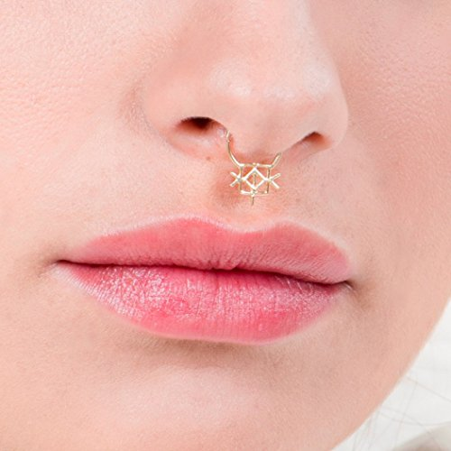Gold Plated Septum Ring, Unique Indian Tribal Style Nose Piercing Jewelry, fits Tragus, Cartilage, Helix, Rook, Daith Hoop Earring, 20g, Handmade