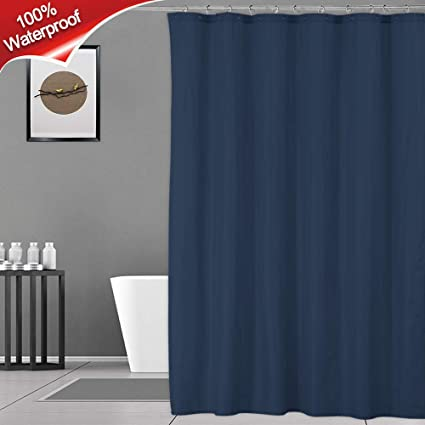 Navy Shower Curtain Or Liner 100 Waterproof And Mildew Resistant Fabric For