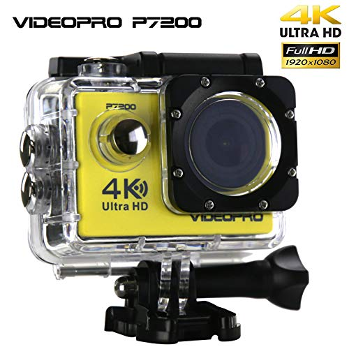 VIDEOPRO Underwater HD Camera 4K WiFi Sports Camera Waterproof DV Camcorder 16MP 2 inch LCD Yellow