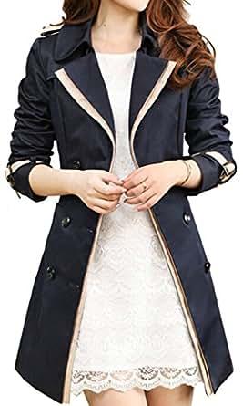Uget Women's Elegant Long Trench Coat Jacket with Belt Black L