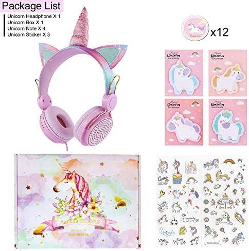 Charlxee Unicorn Kids Headphones with Microphone for Girls Children Teens,Over-Ear On Ear Headphones with HD Sound,Wired Headphones with 3.5mm Jack for School,Unicorn Gift(Pink)