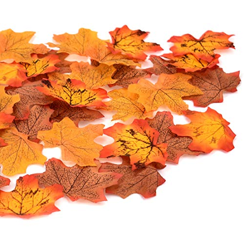 HZOnline Artificial Maple Leaves, Fake Faux Autumn Fall Leaf for Art Scrapbooking Crafts Events Wedding Festival House Photography Props Background Wall Decorations (300pcs)]()