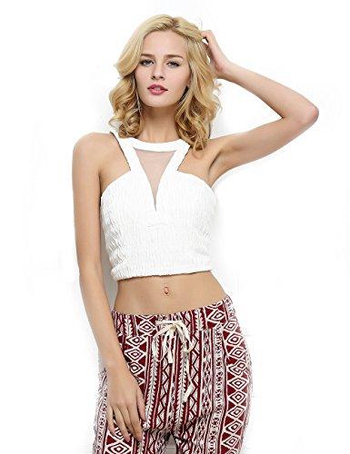 Bustier Elastic - T-INSIDE Women's Halter Neck Crop Top Sleeveless White Elastic Vest Bustier (XL)
