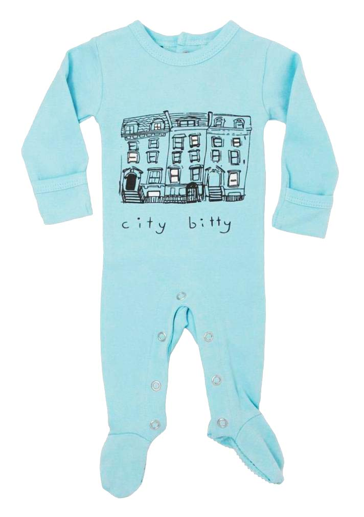 L'ovedbaby Unisex-Baby Organic Cotton Footed Overall (6-9 Months, Aqua City Bitty)