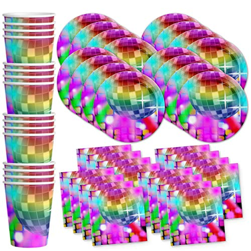 Disco Birthday Party Supplies Set Plates Napkins Cups Tableware Kit for 16 -