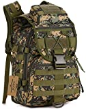 ArcEnCiel Camping Bags Waterproof Molle System Backpack Military 3P Tad Tactical Backpack Assault Travel Bag Cordura -Rain Cover Included (Jungle Camouflage)