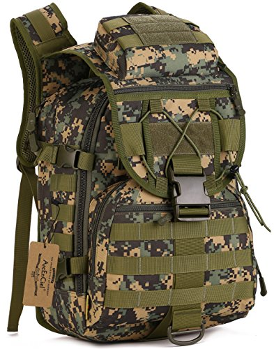 Camouflage Laptop Bag - ArcEnCiel Camping Bags Waterproof Molle System Backpack Military 3P Tad Tactical Backpack Assault Travel Bag Cordura -Rain Cover Included (Jungle Camouflage)