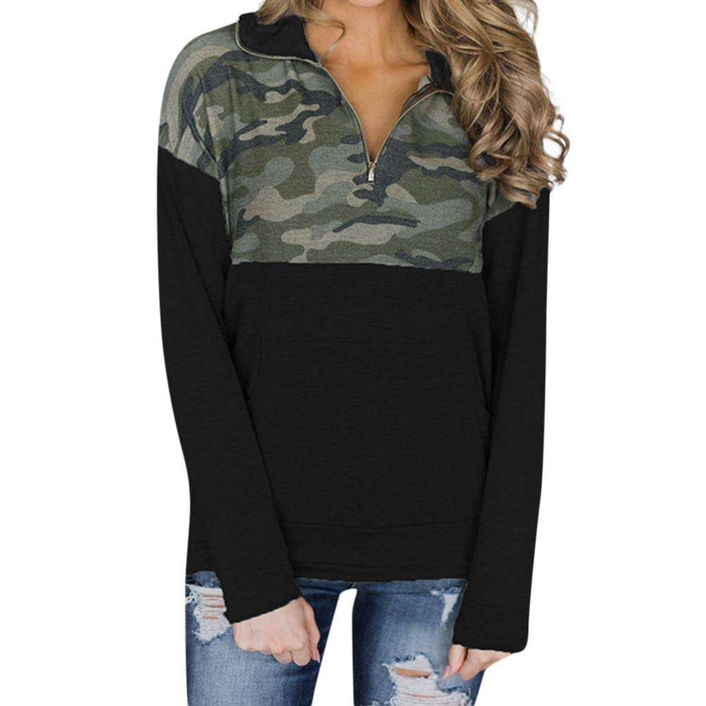 BOLUOYI Women Camouflage Printed Long Sleeved Zippered Collar Sweater Sweatshirt sweatshirts01601386
