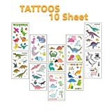 10 Sheets Dinosaur Temporary Tattoos for Boys, 105 Assorted Dinosaur Design Pattern for Kids Birthday Party Favor Decorations Gift