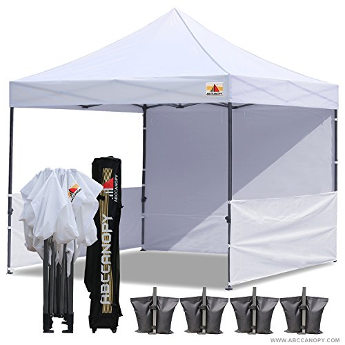 Tent Zip (ABCCANOPY 10x10 RHINO-series EASY Pop Up Canopy Tent Commmercial Grade with Matching Sidewalls AND ROLLER BAG bouns 2pcs half wall (white))
