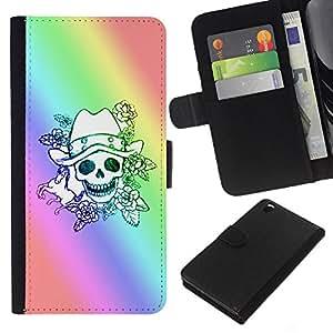 KLONGSHOP // Tirón de la caja Cartera de cuero con ranuras para tarjetas - Cráneo del arco iris Suerte Gambler - HTC DESIRE 816 //