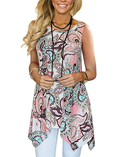 Paewin Women Summer Sleeveless Blouses Casual Floral Print Cami Tank Tops Pink Large