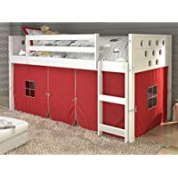 Donco Kids 721799 Twin Circles Low Loft Bed Tent, 79, Red