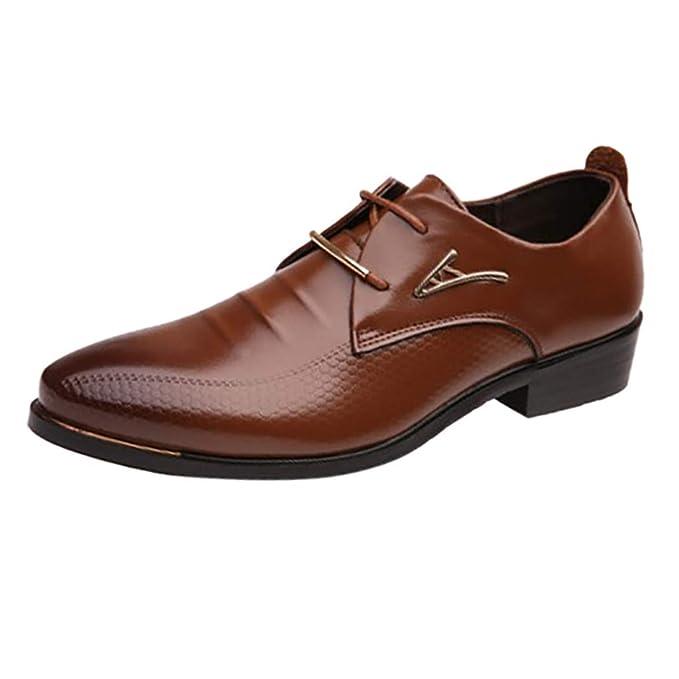74059201e2a69 Zarupeng ☀☀☀☀ Moda Masculina Negocio Zapatos Puntiagudos Casuales con Cordones  Zapatos Perezosos Zapatos de Boda de Traje Masculino  Amazon.es  Ropa y ...