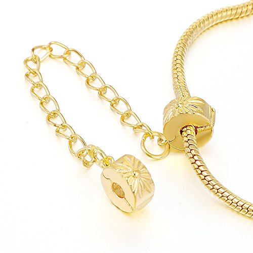 RUBYCA 5pcs Gold Color Clip Lock Double Stopper Chain Clasp Beads fit European Charm Bracelet 083