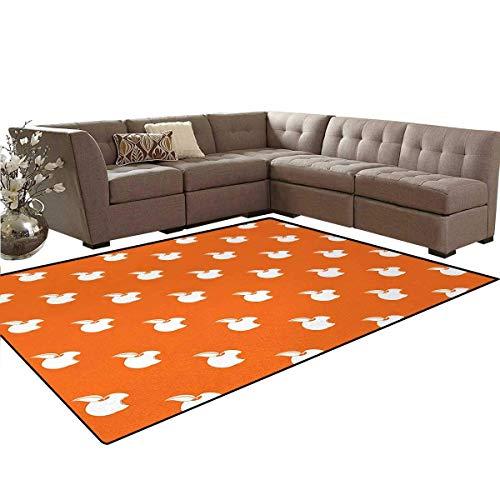 Apple,Rug,Bitten Fruit Pattern on Abstract Orange Background Vitamin Source Nutritious Apple,Oriental Floor and Carpets,Orange White,6'6