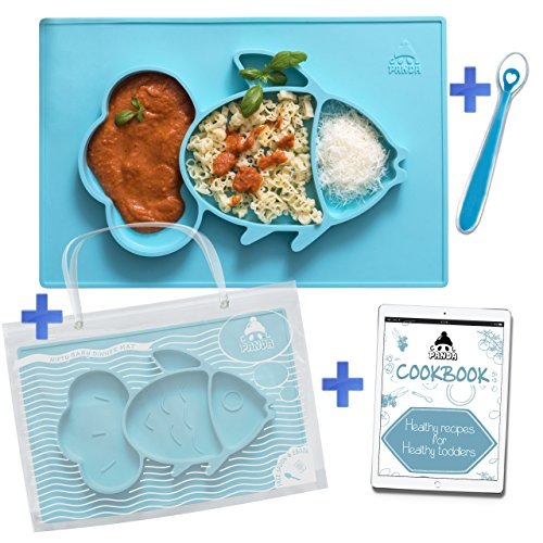 """Cool Panda Fun Silicone Feeding Placemat for Babies, Portable & Reusable Travel Bag, Spoon and Healthy Recipes Ebook Included, Non-Slip Suction Plate, Large Size Set: 15""""x10""""x1"""", Blue"""