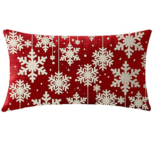 NIDITW Happy Winter Have Yourself A Merry Little Christmas Beautiful Snowflakes Waist Lumbar Red Cotton Burlap Linen Throw Pillow case Cushion Cover Sofa Decorative Oblong Long 12X20 Inches (Have Yourself A Merry Little Christmas Notes)