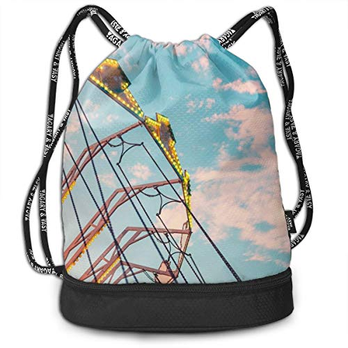 Berasd Colorful Carousel Swing Ride Multifunctional Beam Drawstring Backpack Unisex Suitable for Outdoor Travel