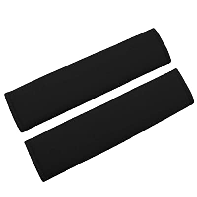 MIRKOO Car Seat Belt Cover Pad, 2-Pack Soft Car Safety Seat Belt Strap Shoulder Pad for Adults and Children, Suitable for Car Seat Belt, Backpack, Shoulder Bag, Laptop Computer Bag (Black): Automotive